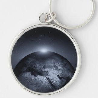 Erde mit Spezialeffekten Silberfarbener Runder Schlüsselanhänger
