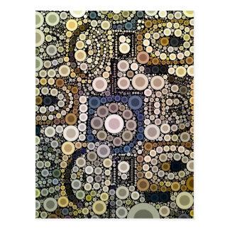 Erde tont konzentrische Kreis-Mosaik-Muster Postkarte
