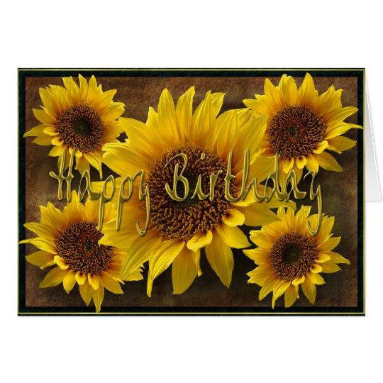 Erdige Sonnenblume-alles Gute zum Geburtstag Grußkarte