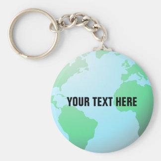 Erdkugel mit Ihrem kundenspezifischen Text Schlüsselanhänger