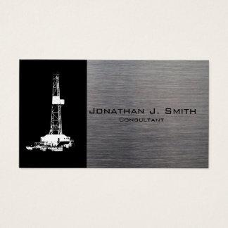 Erdölbohrungs-Anlage-Silhouette, Metallblick Visitenkarte