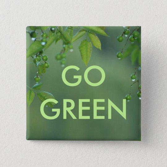 Erdtag und -denke ökologisch quadratischer button 5,1 cm