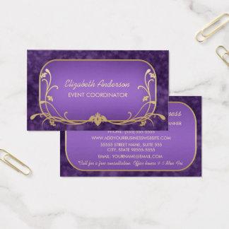 Ereignis-Planer-Lila und GoldblumenLuxusWirbel Visitenkarten