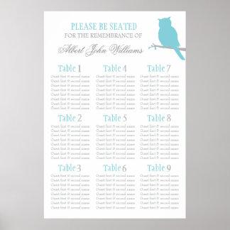 Ereignissitzplatz-Tabellenplan 1-9 des blauen Poster