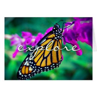 """""""Erforschen Sie"""" orange Schmetterlings-Fotofreien Karte"""