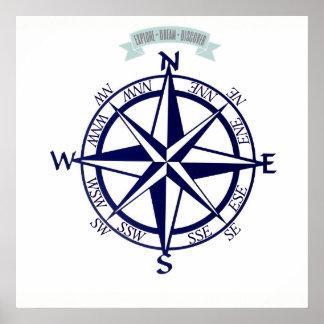 Erforschen-Traum-Entdecken Sie Kompass-Druck Poster