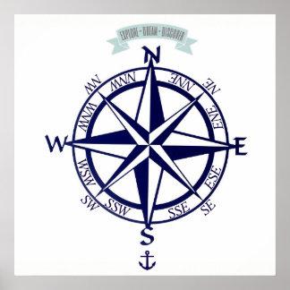 Erforschen-Traum-Entdecken Sie Kompass mit Anker Poster