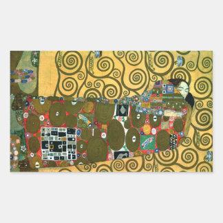 Erfüllung alias die Umarmung durch Gustav Klimt Rechteckiger Aufkleber
