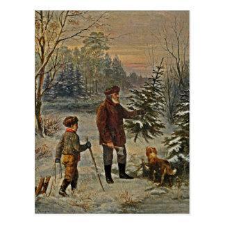 Erhalten eines Weihnachtsbaums Postkarte