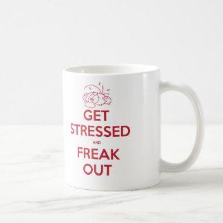 Erhalten Sie betont und flippen Sie heraus aus Kaffeetasse