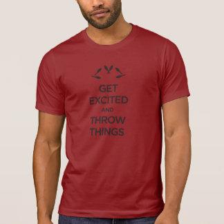 Erhalten Sie die aufgeregte und Throw-Sachen, die T-Shirt