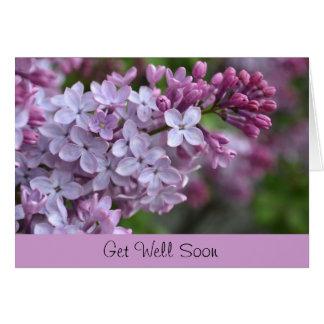 Erhalten Sie wohle bald Gruß-Karte mit lila Karte