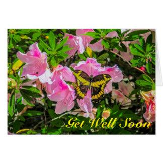 Erhalten Sie wohle bald Karte - rosa Blumen und