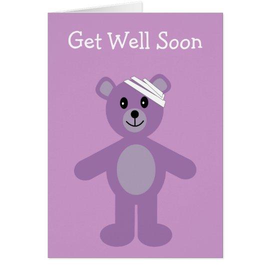 Erhalten Sie wohle bald lila Cartoon Grußkarte