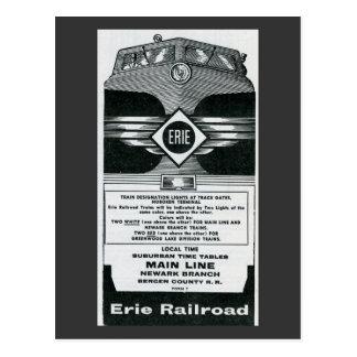 Erie-Eisenbahn-Vorstadtzeitplan-Abdeckung 1958 Postkarte