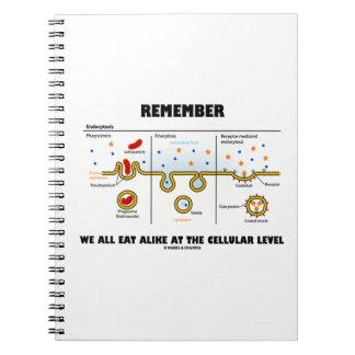 Erinnern Sie sich an uns alle, auf dem zellulären Spiral Notizblock