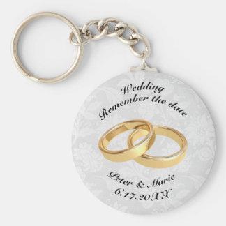 Erinnern Sie sich die an Datums-Eheringe Schlüsselanhänger
