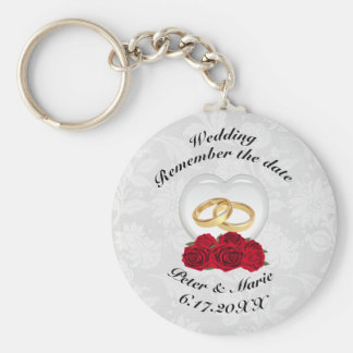 Erinnern Sie sich die an Datums-Hochzeits-Herzen Standard Runder Schlüsselanhänger