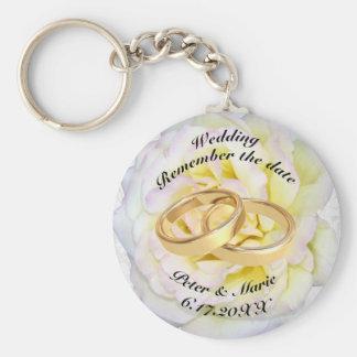 Erinnern Sie sich die an Datums-Hochzeits-Ringe Schlüsselanhänger