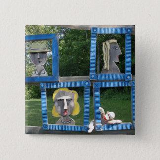 Ernie der Socken-Affe als Kunst-Knopf Quadratischer Button 5,1 Cm