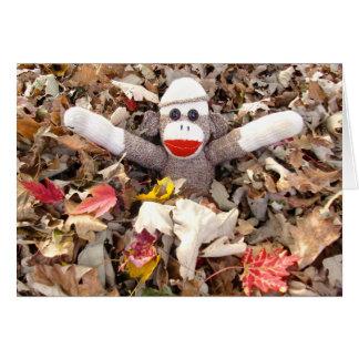 Ernie der Socken-Affe-Stapel der Mitteilungskarte