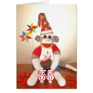 Ernie die Socken-Affe-35. Geburtstags-Karte Karte