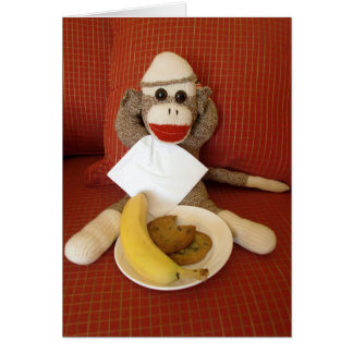 Ernie die Socken-Affe-Imbiss-Anmerkungs-Karte Karte