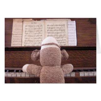 Ernie die Socken-Affe-Klavier-Karte Karte