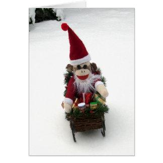 Ernie die Socken-Affe-Sankt-Weihnachtskarte Karte