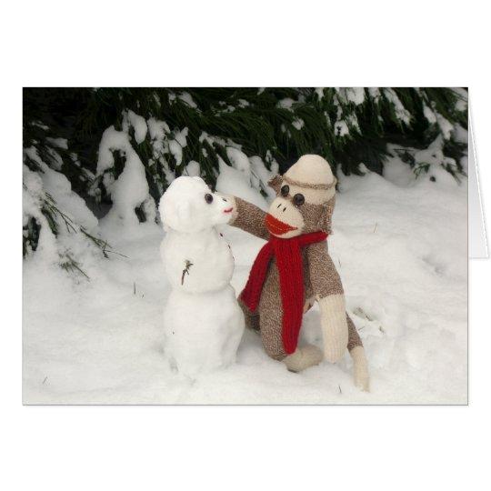 Ernie die Socken-Affe-Schneemann-Feiertags-Karte Grußkarte