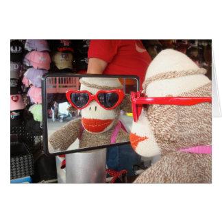 Ernie die Socken-Affe-Valentinstag-Karte Karte