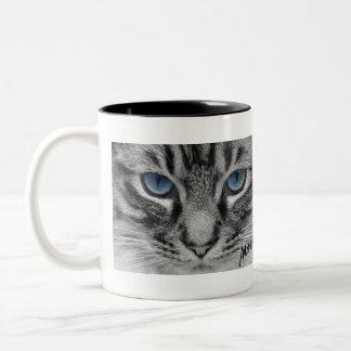 Ernste Katze mit blauem Eys Zweifarbige Tasse