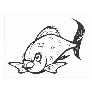 Ernste riesige Barb-Fische in Schwarzweiss Postkarte