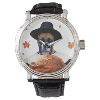 Erntedank-Boxerhund Armbanduhr