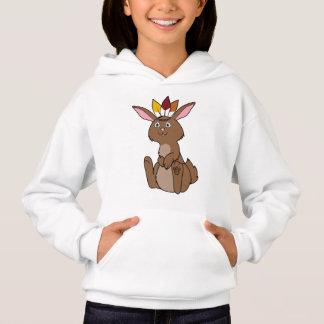 Erntedank-Brown-Kaninchen mit indischem Headdress Hoodie