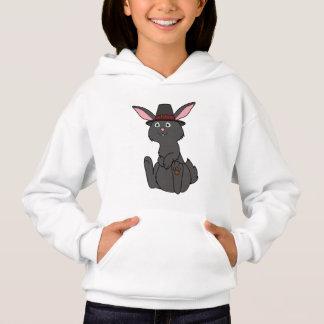 Erntedank-schwarzes Kaninchen mit Pilger-Hut Hoodie