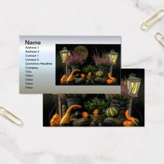 Erntedank-Tagesszene mit Bank und Fall-Ernte Visitenkarte