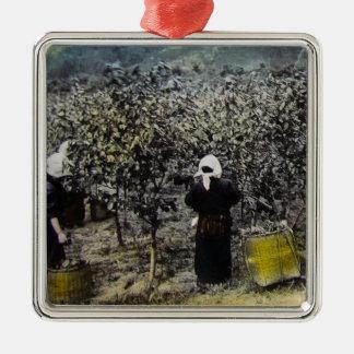 Ernten der Seide in altem Vintagem japanischem Quadratisches Silberfarbenes Ornament