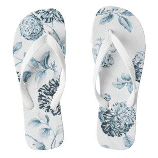 Erröten aquamarines blaues Vintages botanisches Flip Flops