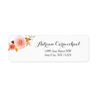 Erröten Aquarell wedding Blumen3605b Rücksendeetikett