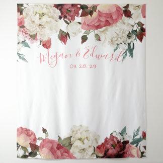 Erröten Blumenhochzeits-Hintergrund-Empfangs-Dekor Wandteppich