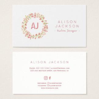 Erröten BlumenKranz-Modedesigner der rosa Wiese Visitenkarte