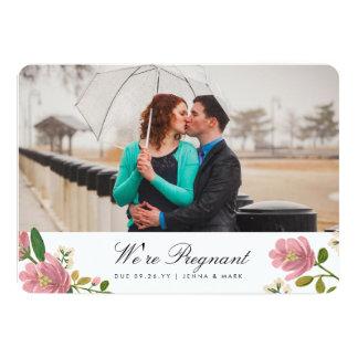 Erröten Blumenstrauß-Schwangerschafts-Mitteilung 12,7 X 17,8 Cm Einladungskarte