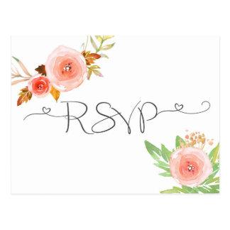 Erröten BlumenWatercolor UAWG-Antwortkarte Postkarte