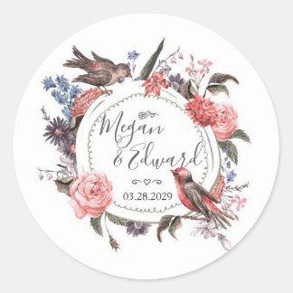 Erröten der Blumenvogel, der Brautpaar-Dusche Runder Aufkleber