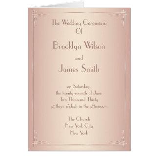 Erröten die Vintagen Hochzeits-Programme Karte