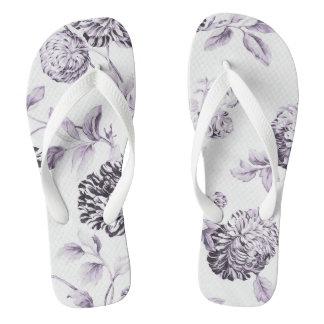 Erröten Maulbeere Vintages botanisches BlumenToile Flip Flops