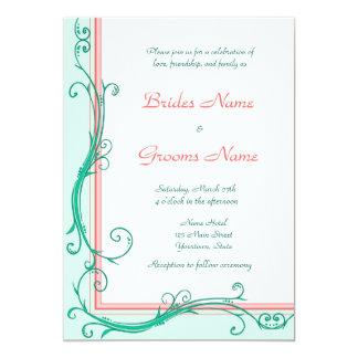 Erröten Pfirsich u. tadellose Hochzeits-Einladung 12,7 X 17,8 Cm Einladungskarte