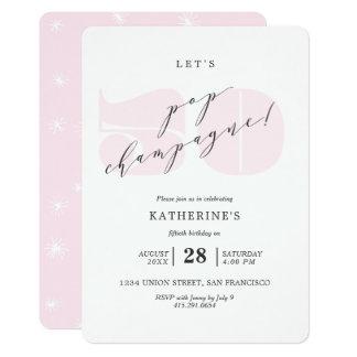 Erröten rosa 50. Geburtstags-Party Champagne 12,7 X 17,8 Cm Einladungskarte