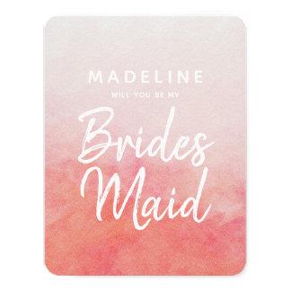Erröten rosa Aquarell Sie ist meine Brautjungfer Karte